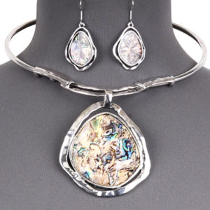 Alabone Stone Like Silver Tone Necklace Set