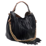 Black fringe bag in bag