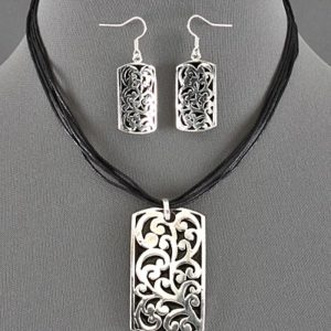 Black Cord Silver Tone Necklace Set