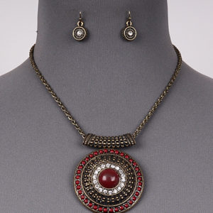 Gold Tone Red Round Pendant Necklace Set