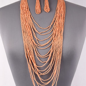 Peach Seed Bead Long Necklace Set