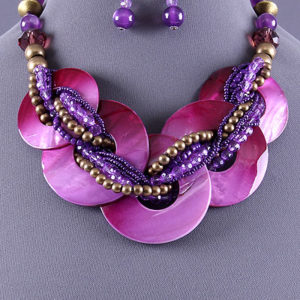 Purple Shell Link Necklace Set