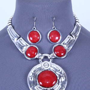 Red Gemstone Bib Necklace Set