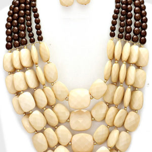 Cream and Brown Bead 5 Layer Necklace Set
