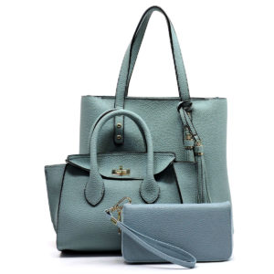 3 Piece Blue tote satchel wallet