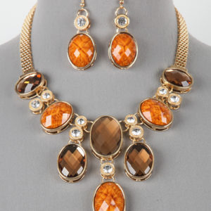 Gold Brown Fashion Necklace set