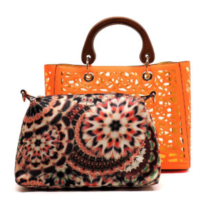 Orange laser bag in bag tote