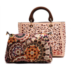 blush laser wood handle bag in bag