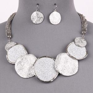 Silver bib Necklace Set